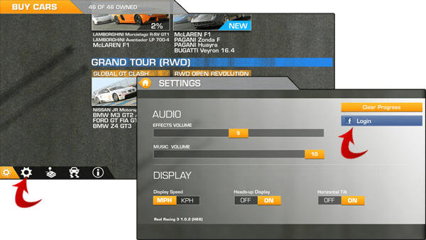 Connect with Facebook on Real Racing 3
