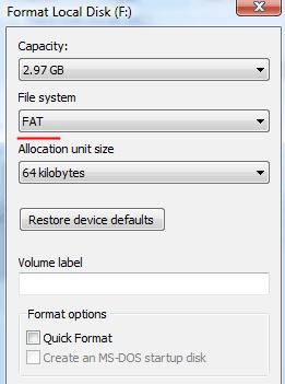 Formatting SD Card