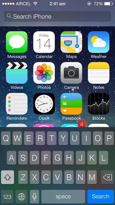 Spotlight Search on iOS 7