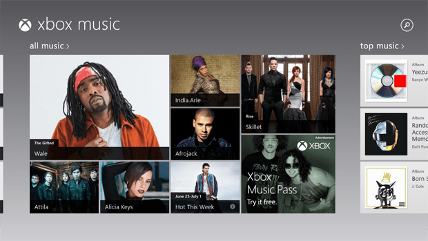 Xbox Music Home Screen