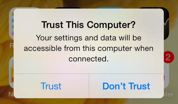 Trust this Computer on iOS 7