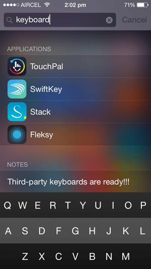 iOS 8 third-party Keyboard