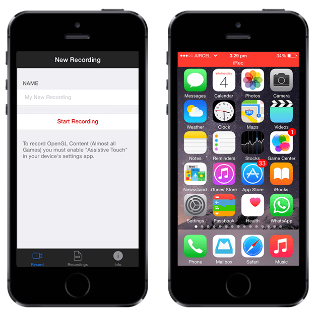 iOS screen recorder app for iPhone and iPad without jailbreak