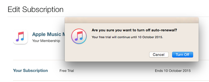 Turn off auto renewal of Apple Music subscription - iTunes (Mac, PC)