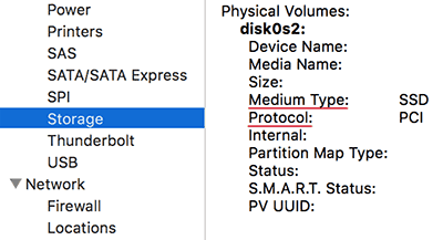 Macbook internal storage - Medium Type and Protocol