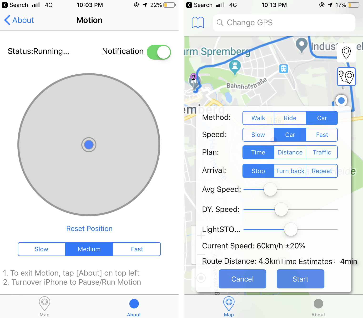 Change GPS location and move around in iPhone