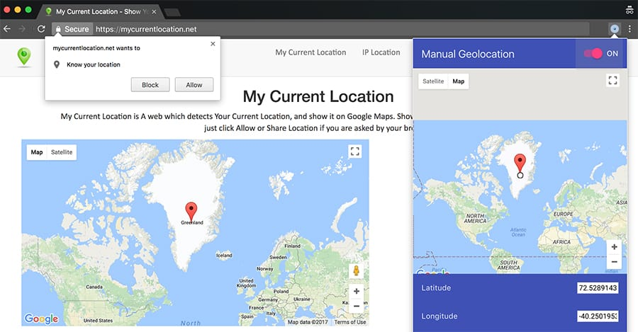 Change Browser Location Country in Chrome