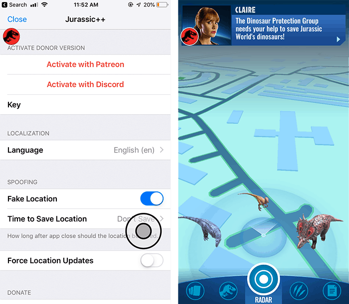 Fake GPS Joystick for Jurassic World Alive on iOS without Jailbreak