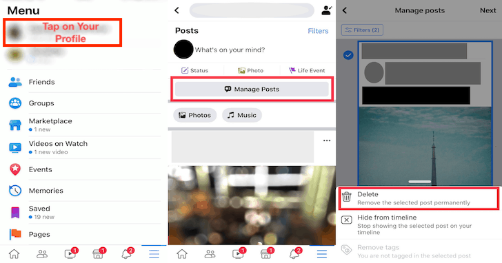 Mass delete Facebook posts on Android iPhone